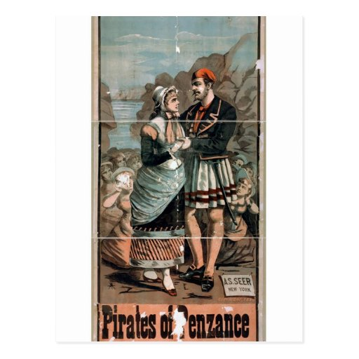 Piratas del teatro del vintage de Penzance Tarjeta Postal