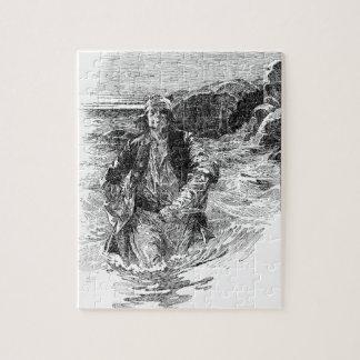 Piratas del vintage, bosquejo blanco y negro, cola puzzle con fotos