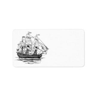Piratas del vintage, bosquejo de una nave de arma etiquetas de dirección