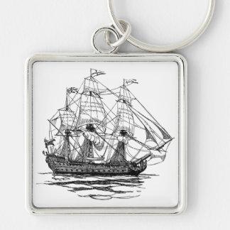 Piratas del vintage, bosquejo de una nave de arma llavero cuadrado plateado