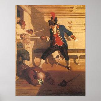 Piratas del vintage, capitán Sword Fight por NC Póster