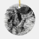 Piratas del vintage; Cola, bosquejo blanco y negro Ornaments Para Arbol De Navidad