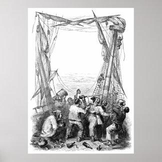 Piratas del vintage con su barco naufragado del póster