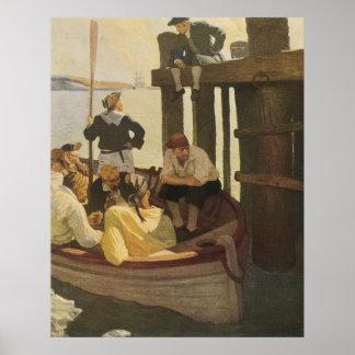 Piratas del vintage, en el transbordador de la póster
