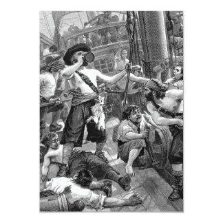 """Piratas del vintage, fiesta de cumpleaños adulta invitación 5"""" x 7"""""""