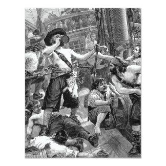 """Piratas del vintage que beben y que luchan en la invitación 4.25"""" x 5.5"""""""