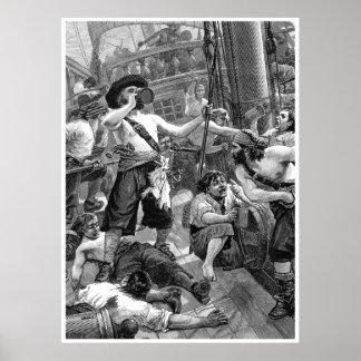 Piratas del vintage que beben y que luchan en la póster
