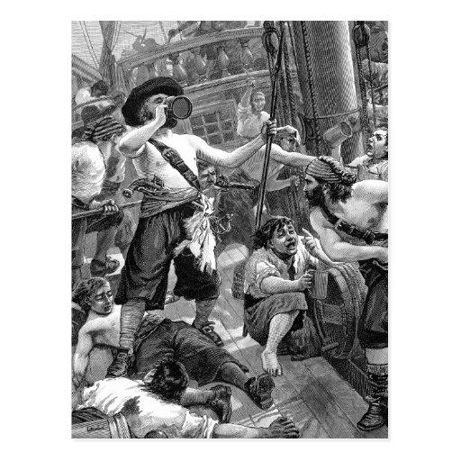 Piratas del vintage que beben y que luchan en la tarjeta postal