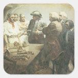 Piratas del vintage que se preparan para el motín, calcomanías cuadradas