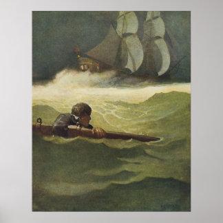 Piratas del vintage; Ruina del convenio, NC Wyeth Impresiones