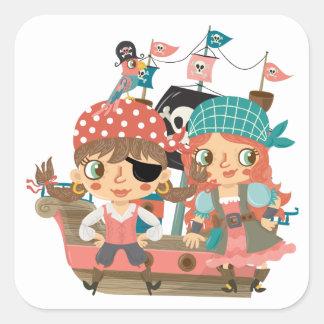 Piratas femeninos pegatina cuadradas