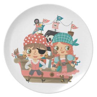 Piratas femeninos platos de comidas