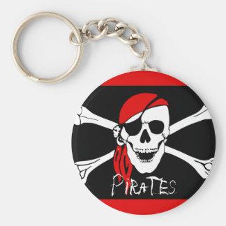 Piratas - negros y cráneo rojo del pirata llaveros