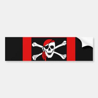 Piratas - negros y cráneo rojo del pirata pegatina para auto