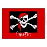 Piratas - negros y cráneo rojo del pirata felicitaciones