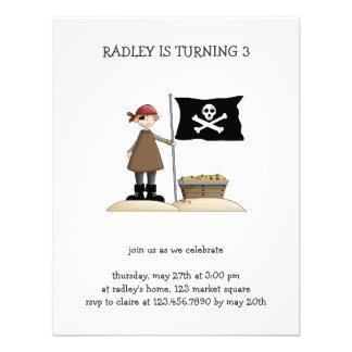 Piratas · Pirata bandera y tesoro Invitación Personalizada
