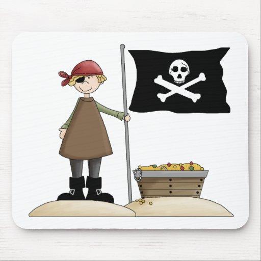 Piratas · Pirata, bandera y tesoro Alfombrilla De Ratones