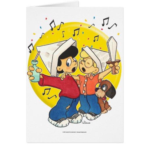 Piratas que cantan tarjeta de felicitación