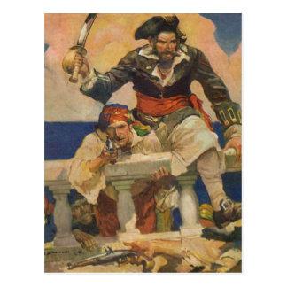 Piratas que suben a la nave tarjetas postales
