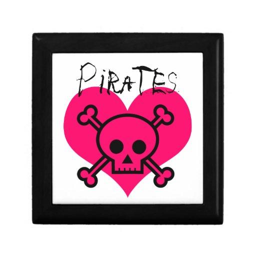 Piratas rosados del corazón caja de joyas