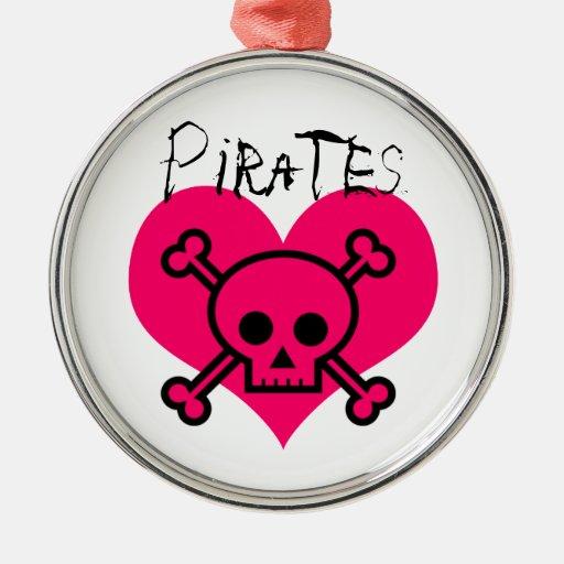 Piratas rosados del corazón ornato