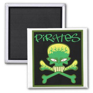 Piratas verdes ardientes imán para frigorifico