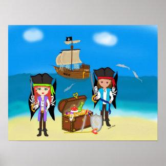 Piratas y tesoro póster