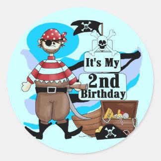 Pirate 2nd Birthday T-shirts and Gifts Classic Round Sticker