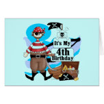 Pirate 4th Birthday Tshirts and Gifts Greeting Cards