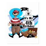 Pirate 4th Birthday Tshirts and Gifts Postcard
