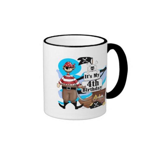 Pirate 4th Birthday Tshirts and Gifts Ringer Coffee Mug