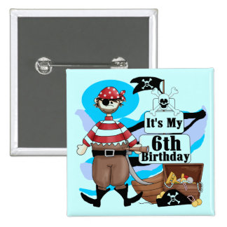 Pirate 6th Birthday t-shirts and Gifts Pin