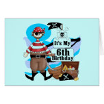 Pirate 6th Birthday t-shirts and Gifts Greeting Card