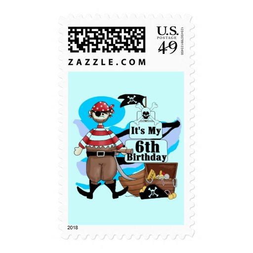 Pirate 6th Birthday t-shirts and Gifts Postage Stamps