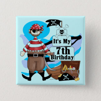 Pirate 7th Birthday Tshirts and Gifts Button