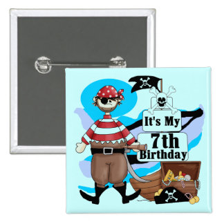 Pirate 7th Birthday Tshirts and Gifts Pins