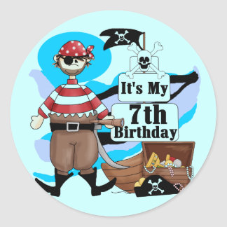 Pirate 7th Birthday Tshirts and Gifts Classic Round Sticker