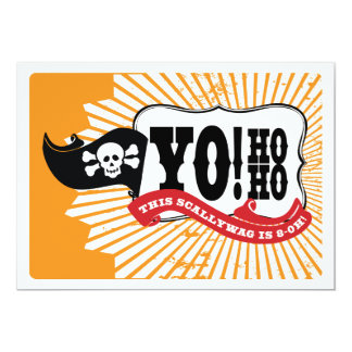 Pirate 80th Birthday Party Invitations - Yo Ho Ho