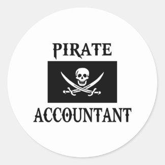 Pirate Accountant Classic Round Sticker