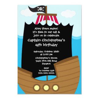 "Pirate Ahoy Mates Birthday Party Invitation Boy 5"" X 7"" Invitation Card"