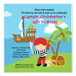 "Pirate Ahoy Mates Birthday Party Invitation Boy 5.25"" Square Invitation Card"
