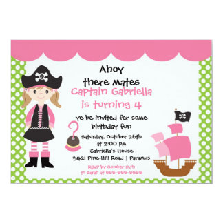 "Pirate Ahoy Mates Birthday Party Invitation Girl 5"" X 7"" Invitation Card"