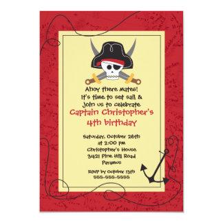 "Pirate Ahoy Mates Boy Birthday Party Invitation 5"" X 7"" Invitation Card"