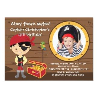 Pirate Ahoy Mates Boy Photo Birthday Party Card