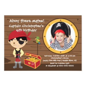 Pirate Ahoy Mates Boy Photo Birthday Party 5x7 Paper Invitation Card