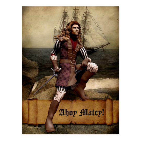 Pirate - Ahoy Matey - Postcard Customizable