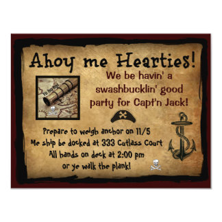 """Pirate Ahoy Me Hearties! Party Invites 4.25"""" X 5.5"""" Invitation Card"""