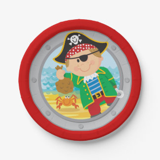 Pirate and Crab Paper Plate 7 Inch Paper Plate