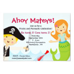 "Pirate and Mermaid Birthday Party invitation 5"" X 7"" Invitation Card"