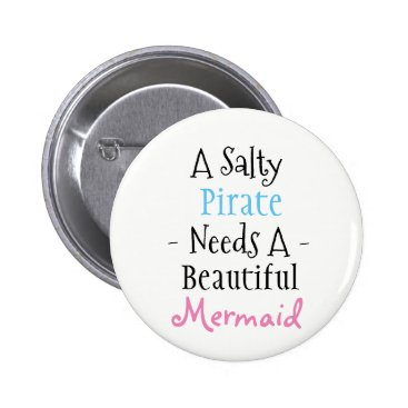 Beach Themed Pirate and Mermaid Button